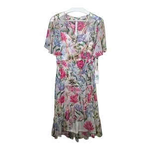 Calvin Klein Womens Dress Sheath Ruffles Flowers 8